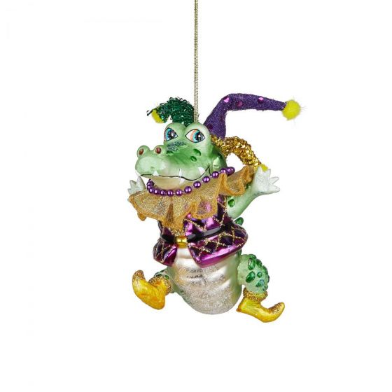 HANG ON - γυάλινο στολίδι τρελός κροκόδειλος