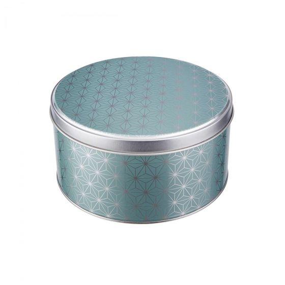 COOKIE JAR - κουτί μεταλλικό, στρογγυλό με σχέδιο αστέρια σε χρώμα μέντας, μικρό