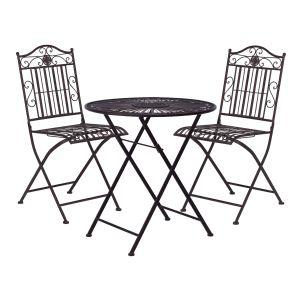 TERRACE HILL - σετ 2 καρέκλες και ένα τραπέζι, καφέ rusty