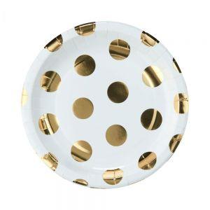 GOLDEN DOTS - πιάτο χάρτινο, χρυσό πουά