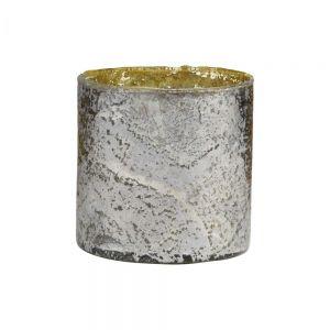 DELIGHT - γυάλινη βάση για ρεσό 11 cm, αντικέ ασημί