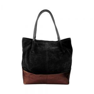 BOUTIQUE - τσάντα δερμάτινη μαύρο/ροζ-χρυσό