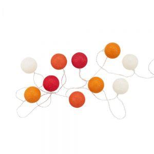 LES BELLES - φωτεινή αλυσίδα με βαμβακερές μπάλες χρωματιστή