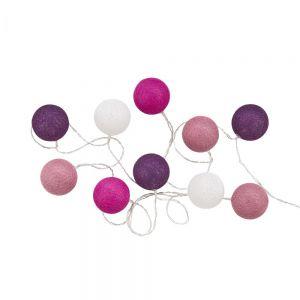 LES BELLES - φωτεινή αλυσίδα με βαμβακερές μπάλες μωβ/ροζ