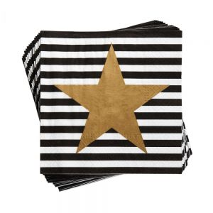 APRES - χαρτοπετσέτες με χρυσά αστέρια ριγέ