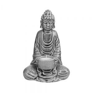 BUDDHA - διακοσμητικό κεραμικό άγαλμα με βάση για ρεσό, γκρι