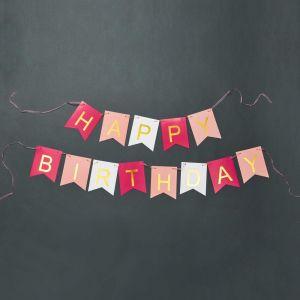 """BANNER DAY - γιρλάντα """"HAPPY BIRTHDAY"""" ροζ"""