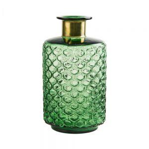 GRACE - βάζο 26cm πράσινο με χρυσό λαιμό