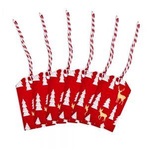 X-MAS - ετικέτες δώρων τάρανδος σετ από 6 κόκκινο χρυσό