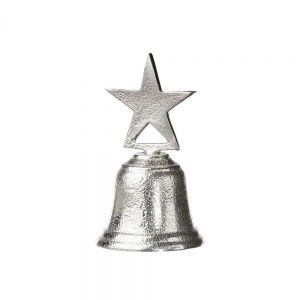 X-MAS - Διακοσμητικό κουδούνι με αστέρι, antique ασημί