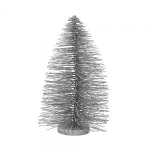 X-MAS - Διακοσμητικό Χριστουγεννιάτικο δεντράκι σε ασημί χρώμα,30 cm