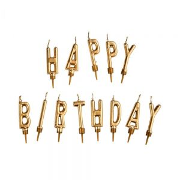 HAPPY BIRTHDAY - σετ κεριά, χρυσό