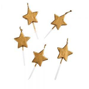 LUCKY STARS - STARLIGHT κεριά 5τμχ, χρυσά