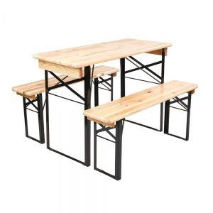 GOOD COMPANY - τραπέζι πτυσσόμενο με 2 παγκάκια σετ 3τμχ