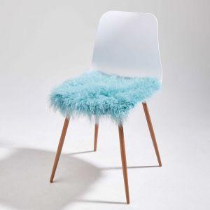 TASHI - κάλυμμα καρέκλας από θιβετιανό αρνί 40x40 ανοιχτό μπλε
