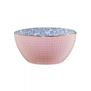 CASCA - μπολ ροζ με χρυσό χείλος, σχέδιο εξωτερικά και εσωτερικά λουλούδια 730 ml