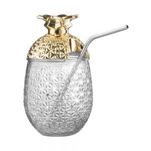 COCKTAIL DELUXE - ποτήρι με καλαμάκι χρυσό
