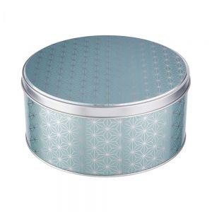 COOKIE JAR - κουτί μεταλλικό, στρογγυλό με σχέδιο αστέρια σε χρώμα μέντας, μεγάλο