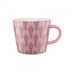 ORNAMENTS - κούπα ανοιχτό ροζ με σχέδια 350 ml