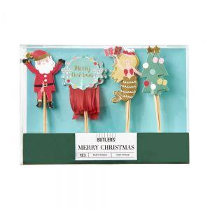 MERRY CHRISTMAS - διακοσμητικά party picks XMAS 12 pcs