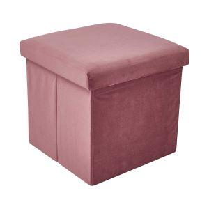 BOXSPRING - βελούδινο σκαμπό, πτυσσόμενο, ροζ