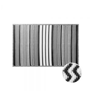 COLOUR CLASH - χαλί κατάλληλο για εσωτερικούς και εξωτερικούς χώρους ethnic μαύρο/λευκό 120x180