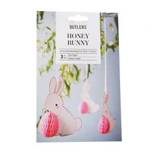 HONEY BUNNY - διακοσμητικά κρεμαστά για συσκευασίες δώρου σετ 3 τεχ, λαγουδάκι με αυγό