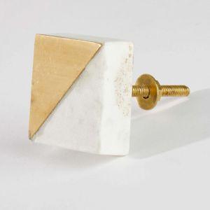 OPEN - πόμολο μάρμαρο τετράγωνο λευκό/γκρι
