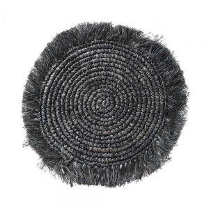 RAFFIA - σουπλά με κρόσια μαύρο