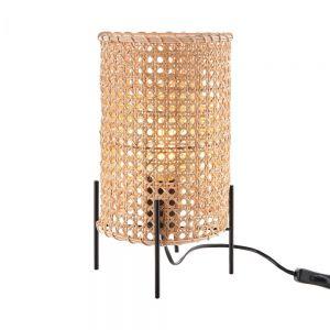 STILO - επιτραπέζιο φωτιστικό rattan με μεταλλική βάση