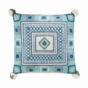 FREE SPIRIT - μαξιλάρι μπλε με pom pom 50x50 cm