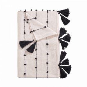 TASSELINE - κουβέρτα, μαύρη, 170x130 cm