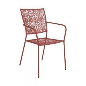 NANCY - μεταλλική καρέκλα με μπράτσα, σκούρο κόκκινο