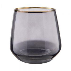 TOUCH OF GOLD - ποτήρι γκρι με χρυσό φινίρισμα 345ml