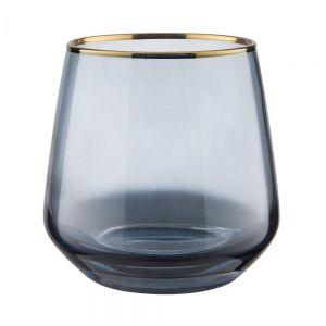 TOUCH OF GOLD - ποτήρι μπλε με χρυσό φινίρισμα 345ml
