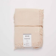 WAFFLE - πετσέτα  με κρόσσια, ροζ
