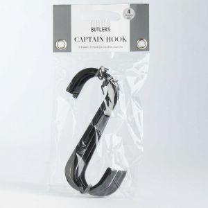 CAPTAIN HOOK - κρεμάστρα μαύρη ματ 4 τμχ
