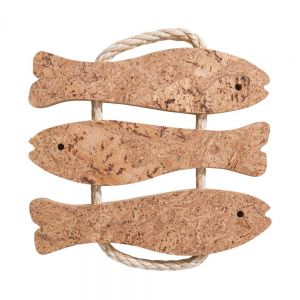 PORTO - βάση για σκεύος από φελλό, 3 ψάρια