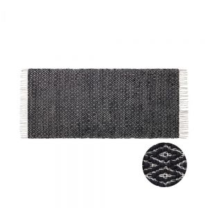 ETHNO LODGE - χαλί διάδρομος 70x140cm, με ρόμβους, μαύρο