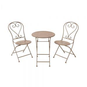 BOVERY - σετ τραπέζι με 2 καρέκλες, πτυσσόμενο μπεζ