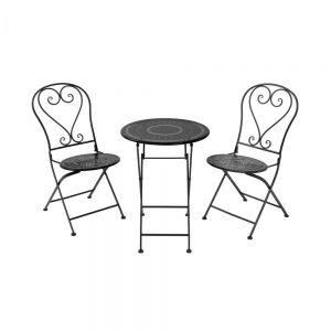 BOVERY - σετ τραπέζι με 2 καρέκλες, πτυσσόμενο μαύρο
