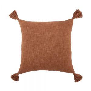 TERRA TONES - μαξιλάρι με φούντες, σκούρο πορτοκαλί