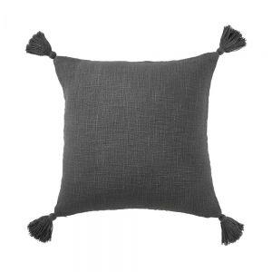 TERRA TONES - μαξιλάρι με φούντες, λαδί