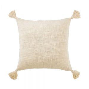 TERRA TONES - μαξιλάρι με φούντες, μπεζ