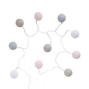 LES BELLES - LED αλυσίδα φωτισμού με μπάλες ροζ και καλώδιο USB