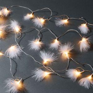 FEATHERS - φωτεινή αλυσίδα με φτερά και 20 LED φωτάκια, λειτουργεί και με USB