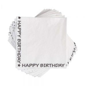 APRES - χαρτοπετσέτες Happy Birthday, μαύρο/λευκό