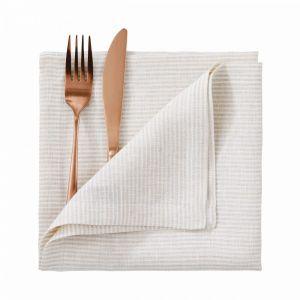 PORTO - πετσέτα λινή 42x42cm, λευκό/μπεζ