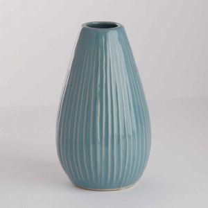 RIFFLE - βάζο κεραμικό 15,5 cm, ανοιχτό μπλε