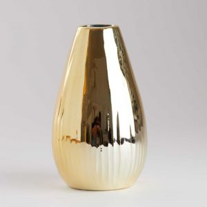 RIFFLE - βάζο κεραμικό 15,5 cm, χρυσό